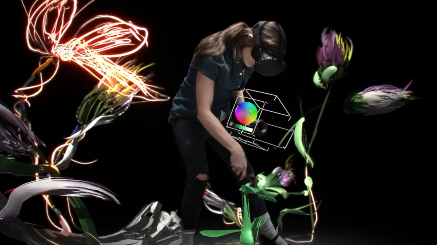 Using green screens is the best way to show virtual reality without putting on a headset